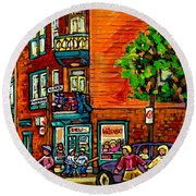 Wilensky Diner Little League Expo Kids Baseball Painting Montreal Scene Canadian Art Carole Spandau  Round Beach Towel