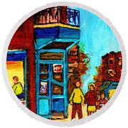 Wilensky's Lunch Counter With School Bus Montreal Street Scene Round Beach Towel