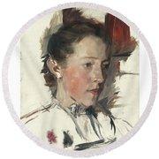 Wilhelm Leibl 1844 - 1900 German Bauernmadchen Farm Girl Round Beach Towel