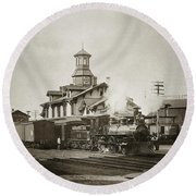 Wilkes Barre Pa. New Jersey Central Train Station Early 1900's Round Beach Towel