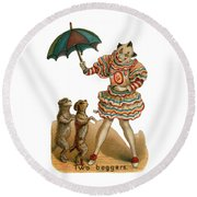 Will Work For Food Round Beach Towel by ReInVintaged