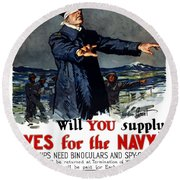 Will You Supply Eyes For The Navy Round Beach Towel by War Is Hell Store