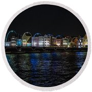 Willemstad Curacao At Night Round Beach Towel