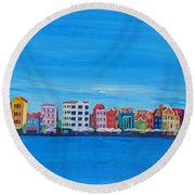 Willemstad Curacao Waterfront In Blue Round Beach Towel