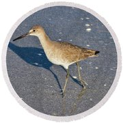Willet And Shadow Round Beach Towel