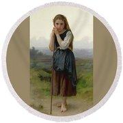 William Bouguereau 1825-1905 French Petite Bergere Round Beach Towel