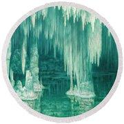 William Degouve De Nuncques 1867 - 1935 Belgian La Grotte Du Drac, Manacor Round Beach Towel