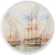 William Edward Atkins H.m.s. Victory And H.m.s. Duke Of Wellington In Portsmouth Harbour With An Ind Round Beach Towel