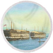 William Frederick Mitchell , H.m.s. Excellent And H.m.s. Calcutta In Portsmouth Harbour, 1897 Round Beach Towel
