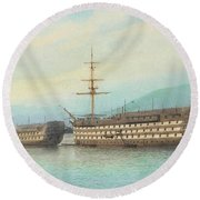 William Frederick Mitchell, H.m.s. Brittania And H.m.s. Hindostan On The Dart, 1897 Round Beach Towel