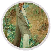 William Henry Margetson, Woman In A Spring Landscape. Round Beach Towel
