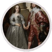 William II, Prince Of Orange, And His Bride, Mary Stuart Round Beach Towel