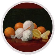 William J. Mccloskey 1859 - 1941 Untitled Wrapped Oranges Round Beach Towel