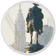 William Penn And George Washington - Philadelphia Round Beach Towel by Bill Cannon