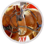 Williamsburg Carriage Horse Round Beach Towel