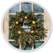 Williamsburg Wreath 37 Round Beach Towel