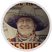 Willie For President Round Beach Towel