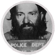 Willie Nelson Mug Shot Vertical Black And White Round Beach Towel
