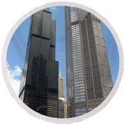 Willis Tower Aka Sears Tower And 311 South Wacker Drive Round Beach Towel