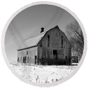 Willow Barn Bw Round Beach Towel