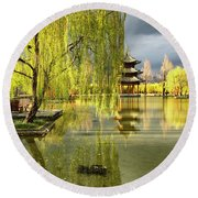Willow Tree In Liiang China II Round Beach Towel