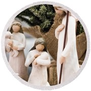 Willow Tree Nativity At Christmas Round Beach Towel