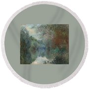 Willows At The Edge Of The Yerres Round Beach Towel