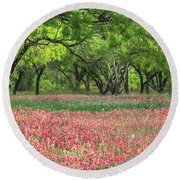 Willows,indian Paintbrush Make For A Colorful Palette. Round Beach Towel