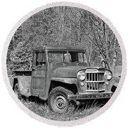 Willys Jeep Pickup Truck Monochrome Round Beach Towel