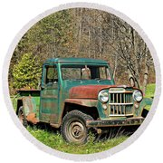 Willys Jeep Pickup Truck Round Beach Towel