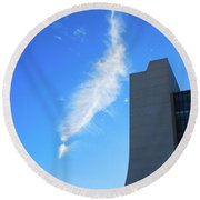 Wilson Hall At Fermilab With Cloud Round Beach Towel