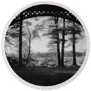 Wilson Pond Framed In Black And White Round Beach Towel