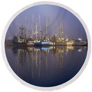 Winchester Bay Fishing Boats Round Beach Towel