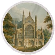 Winchester Cathedral Round Beach Towel by John Buckler