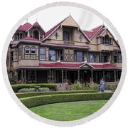 Winchester Mystery House Round Beach Towel