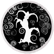 Wind Dancing - White On Black Silhouettes Round Beach Towel