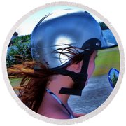 Wind In The Hair Round Beach Towel