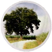 Wind Motif Old Dam Road Round Beach Towel