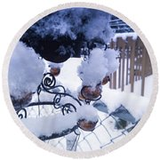 Wind Snow Chimes Round Beach Towel by Robert Knight