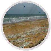Wind Surfing In Flagler Round Beach Towel
