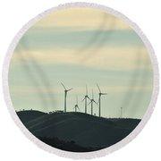 Wind Turbines In Algarve Mountains Round Beach Towel