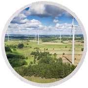 Wind Turbines In Suwalki. Poland. View From Above. Summer Time. Round Beach Towel