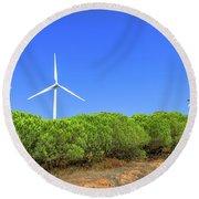 Wind Turbines Landscape Round Beach Towel