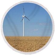 Wind Turbines On Wheat Field Summer Season Round Beach Towel