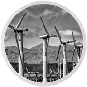 Wind Turbines Palm Springs Round Beach Towel