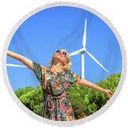 Wind Turbines Woman Round Beach Towel