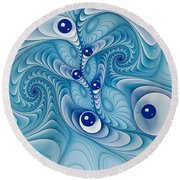 Wind Up Marble Works  Round Beach Towel