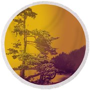 Windblown At Twilight Round Beach Towel