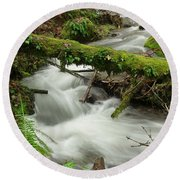 Winding Creek With A Mossy Log Round Beach Towel