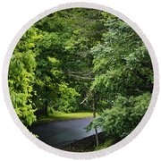 Winding Road Bluestone State Park West Virginia Round Beach Towel